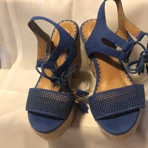 Restricted Shoes - Restricted blue wedges